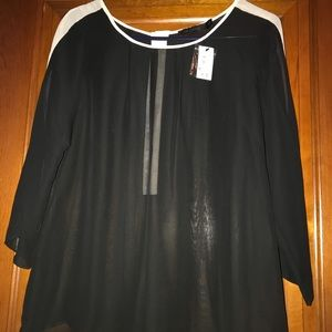 Limited black with cream trim sheer top,size small